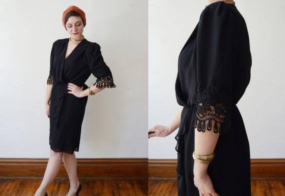 1980s Black Cocktail Dress - M