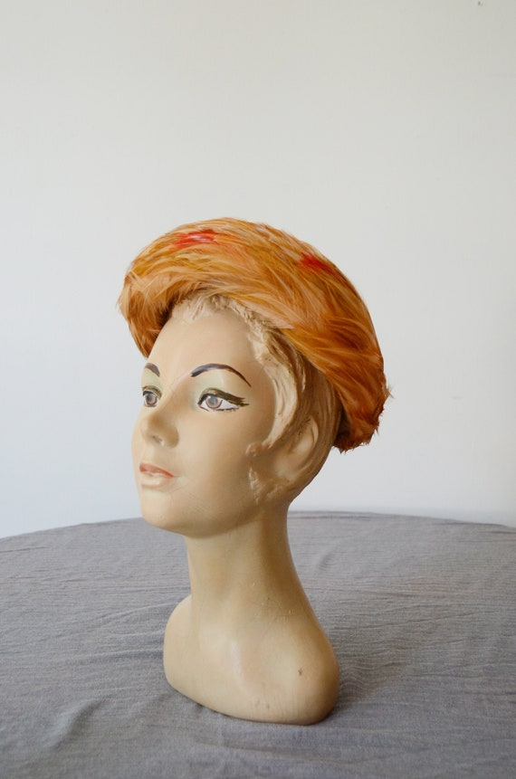 As Is 1960s French Room Feathered Pillbox Hat