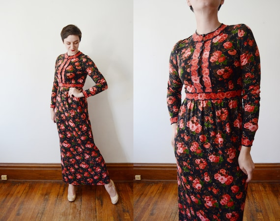 1970s Goldworm Rose Wool Jersey Maxi Dress - S/M