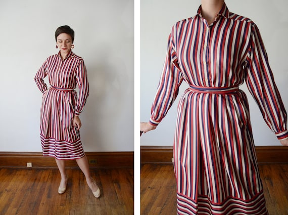 Late 1970s Red and Blue Striped Silky Blouse and Skirt - S