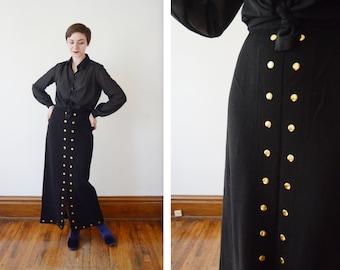1970s Studded Black Wool Knit Maxi Skirt - M