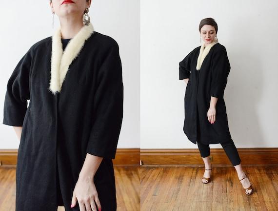 1950s Black Wool Coat with Fur Collar - S/M