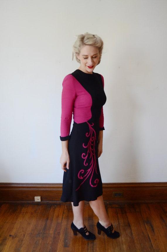 1940s Fuchsia and Black Colorblock Dress - XS - image 6