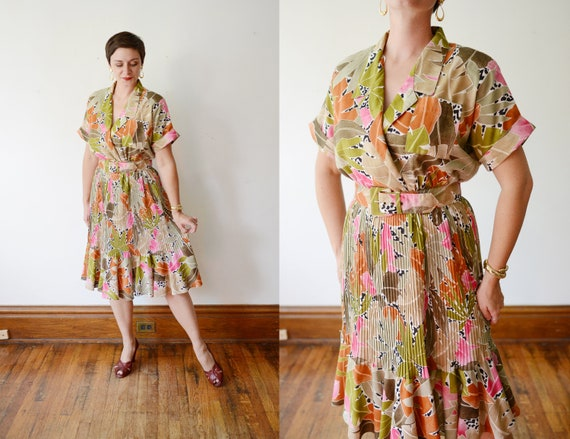 Tropical 80s Dress - M/L