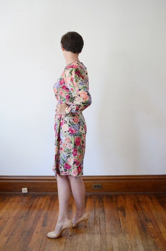 1980s Silk Floral Dress - M - image 3