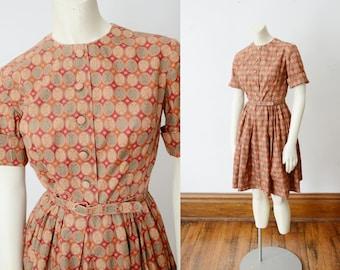 1950s Cotton Shirtwaist Dress - XS