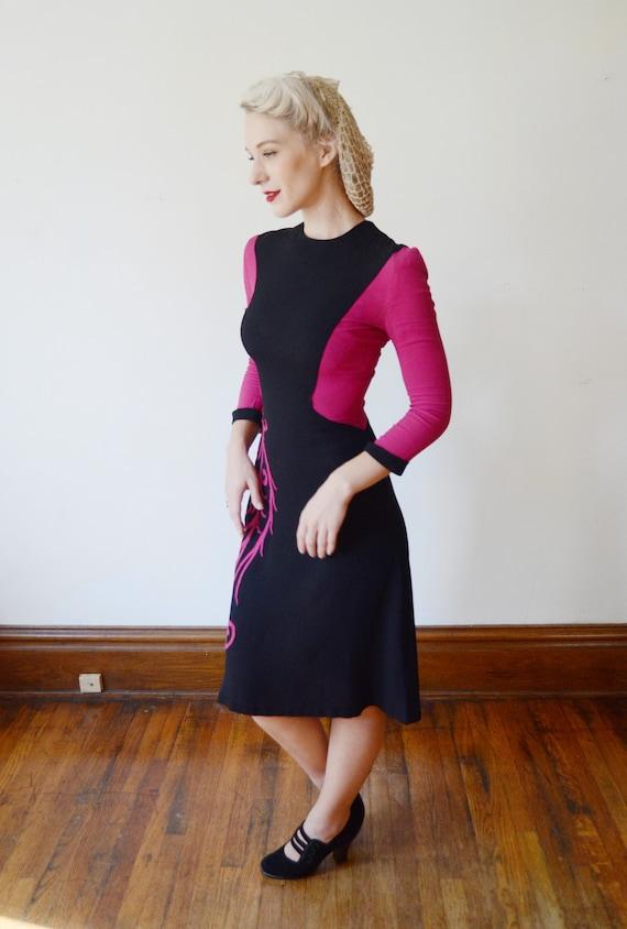 1940s Fuchsia and Black Colorblock Dress - XS - image 7
