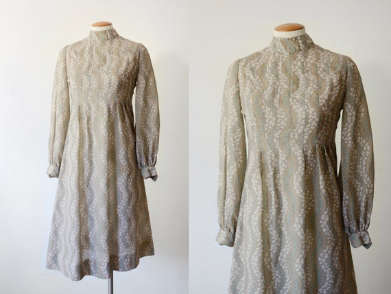 1970s Brown Floral Dress - XS/S