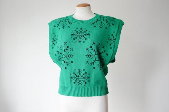 1980s Green Snowflake Sweater Vest - M/L