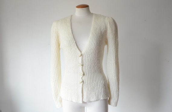 1980s Off White Puff Sleeve Cardigan - S/M