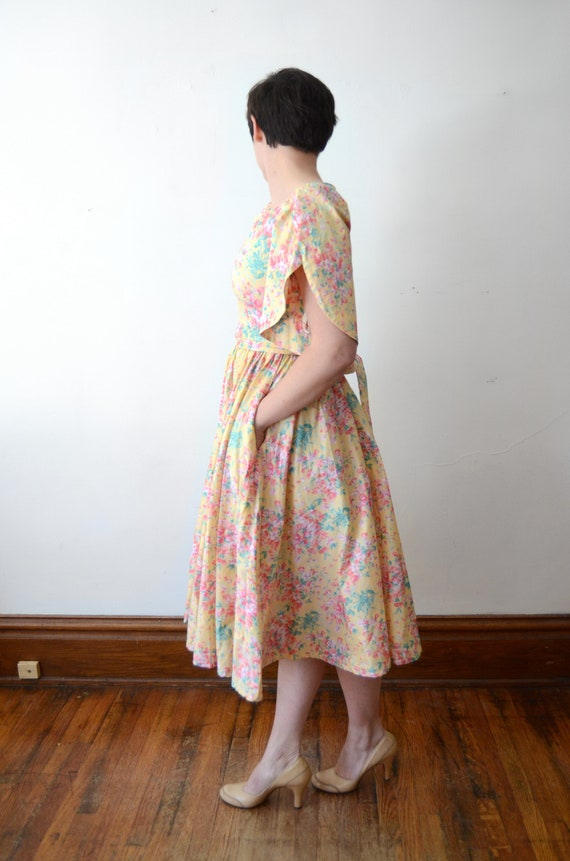 1980s Floral Cotton Dress - XS - image 5