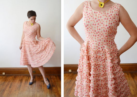 1950s Susan Ross Peach Floral Dress - M