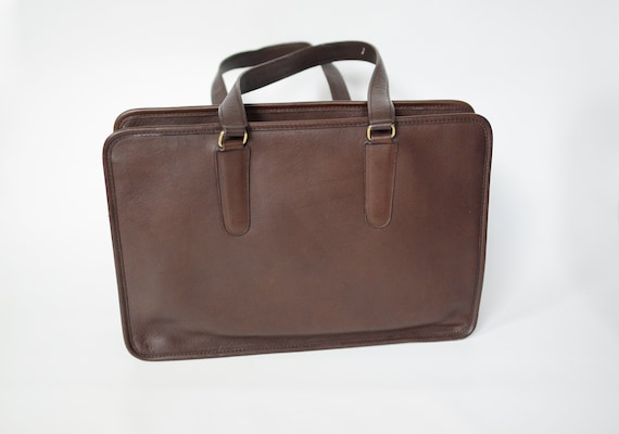 1980s Coach Brown Leather Marketing Tote Made in New York