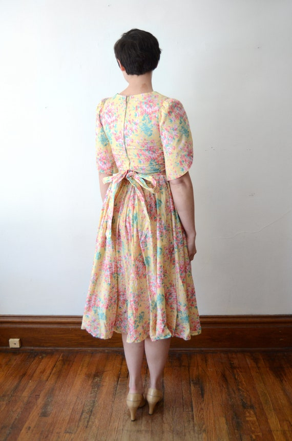 1980s Floral Cotton Dress - XS - image 2