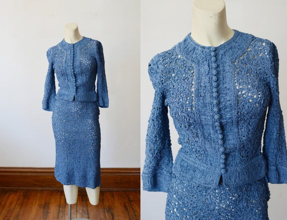 1940s Ribbon Work Skirt Suit - XXS