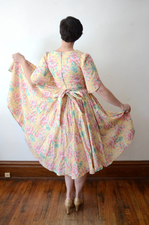 1980s Floral Cotton Dress - XS - image 4