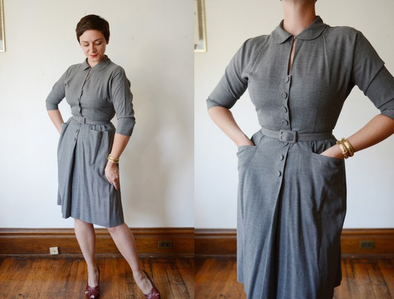 1950s Grey Button Up Dress - S