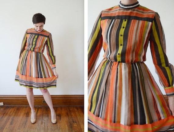 1960s R&K Originals Striped Dress - S