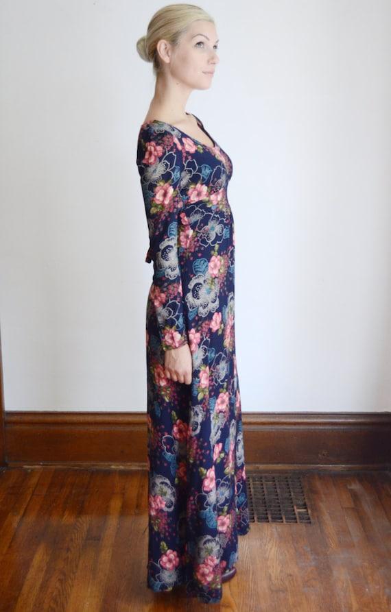 1970s Maxi Floral Blue Dress XS UqrUT