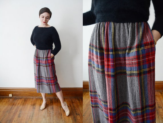 1980s Plaid Skirt - M