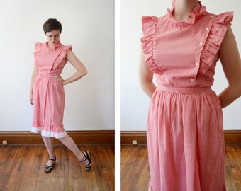 1970s Red Ruffled Checked Dress - S/M