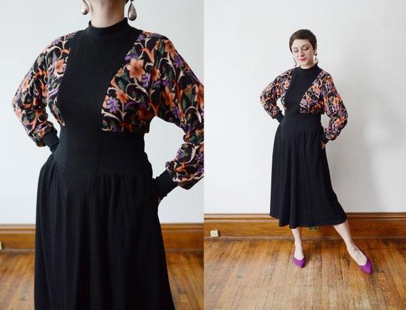 1980s Black Floral Jersey Dress - M