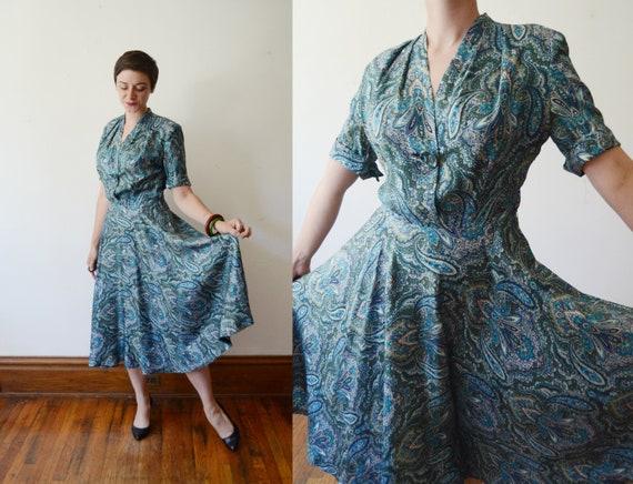 1950s Blue Paisley Dress - S/M