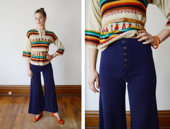 1970s Knit Bell Bottoms - XS