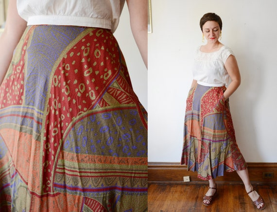 1990s Rayon Bias Cut Skirt - S/M
