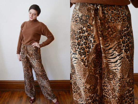 1990s Sheer Animal Print Pants - S/M