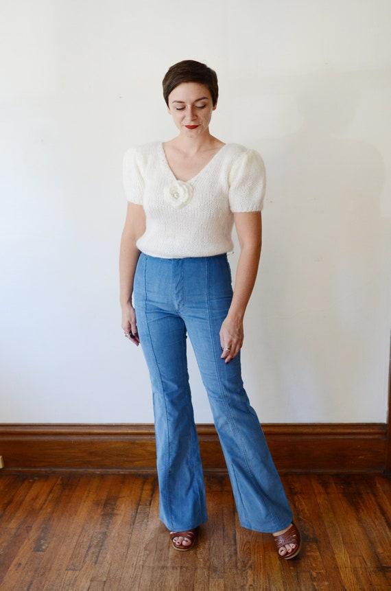 1980s White Angora Puff Sleeve Sweater - S/M
