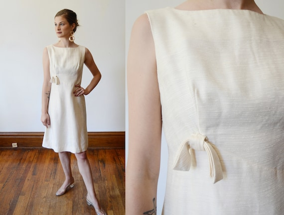 1960s Cream Shift Dress - XS