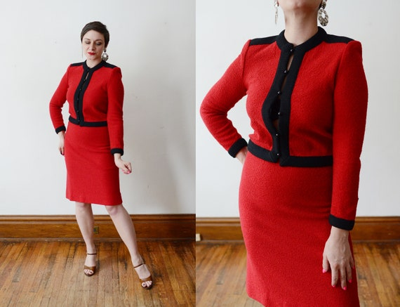 1980s Red and Black Castleberry Knit Set - S