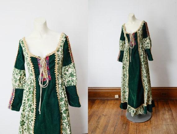 Black Label Gunne Sax Renaissance Green Velvet Dress - XS