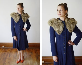 1940s Blue Coat with Fur Collar - XS
