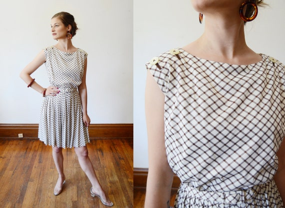 1960s Plaid Nylon Jersey Dress - XS