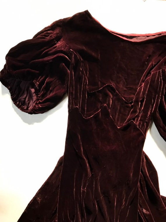 1930s Brown Velvet Puff Sleeve Dress - XS - image 10