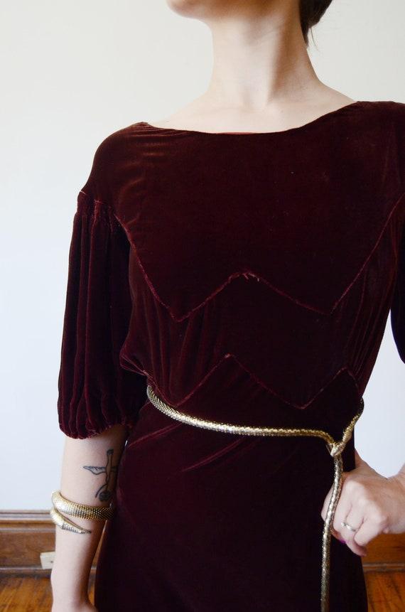 1930s Brown Velvet Puff Sleeve Dress - XS - image 5