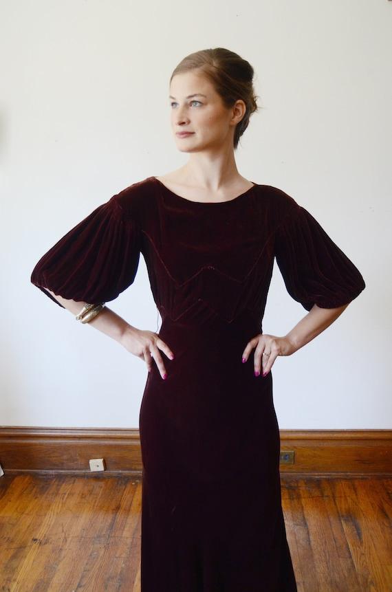 1930s Brown Velvet Puff Sleeve Dress - XS - image 6