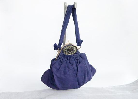 40s K&G Charlet Navy Evening Bag