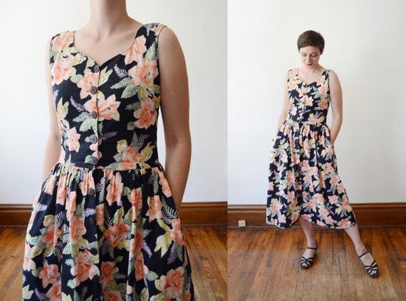 1980s Black Floral Cotton Sundress - S
