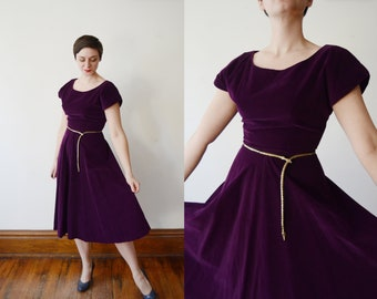 1950s Purple Corduroy Dress - S/M