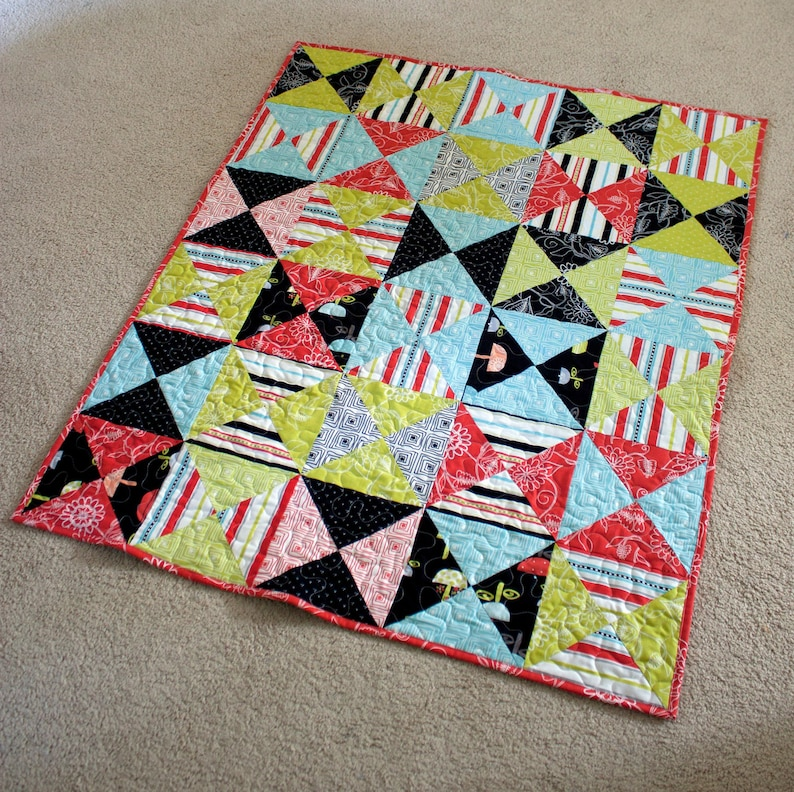 baby quilt for crib or wall hanging  hourglass boy or girl quilt  summertime bright modern fabrics  READY TO SHIP