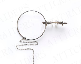 Silver Pince Nez Glasses, Steampunk Monocle, Unique Gift for Sister, Gothic Gift for Her, Slow Fashion, Victorian Halloween, Cosplay Costume