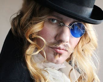 Steampunk Monocle - Blue Monnocle - Blue - Silver Monocle - Mens Eyewear - Steampunk - Steampunk Wedding - Wedding - Gifts for wedding