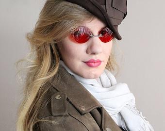 Dark Red Sunglasses , Round Sunglasses ,  Retro Sunglasses , Glasses , Red Glasses , Steampunk Glasses , Steampunk , Mens Sunglasses