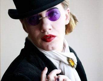 Purple Steampunk Eyeglasses, Womens Retro Sunglasses, Rimless Glasses for Women, Halloween Costume, Romantic Goth, Purple Gifts for Girls