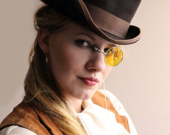 Silver and Yellow Steampunk Cosplay Monocle