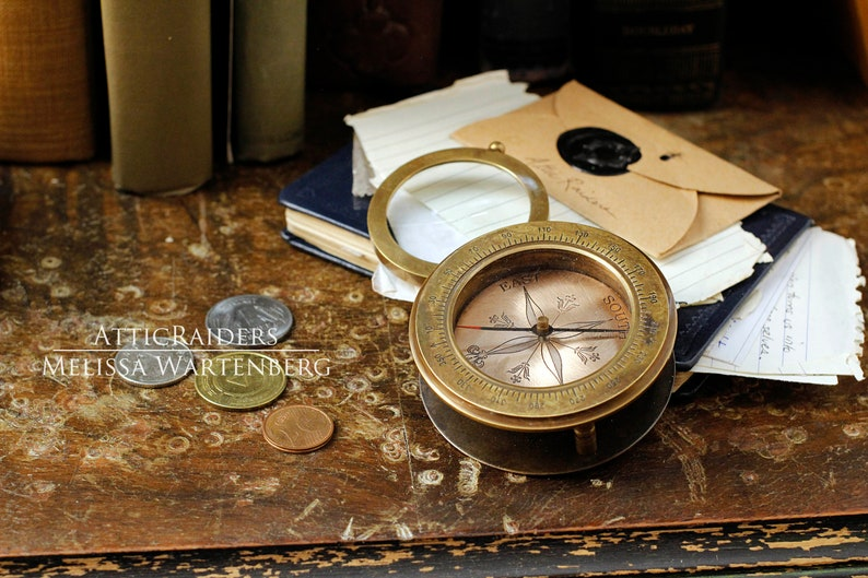 Nautical Brass Compass Steampunk Home Decor Gift for Dad image 0