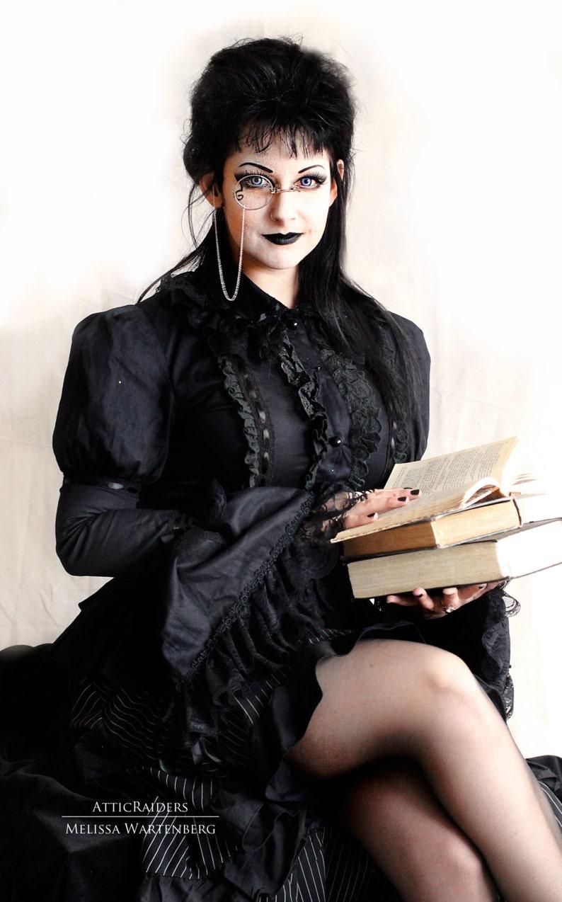 Silver Gothic Pince Nez Monocle Steampunk Costume Monocles image 0